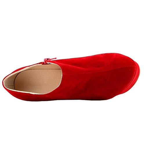 EKS Damen Mode Keil Absätze Plattform Reißverschluss Kleid Stiefel Rot