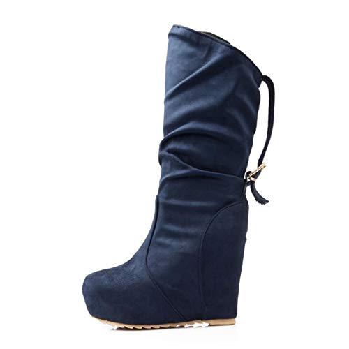 JingZhou Women Winter Wedges Boots Buckle Platform Mid Calf Warm Fur Shoes Lady Party Footwear Size 34-39
