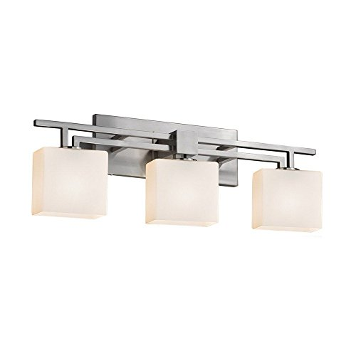 Justice Design Group Glass Sconce - Justice Design Group Lighting FSN-8703-55-MROR-DBRZ Justice Design Group - Fusion - Aero 3-Light Bath bar - Rectangle - Dark Bronze Finish with Mercury Glass Shade,