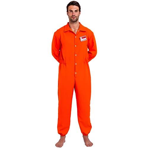 Inmate Costume - Prisoner Jumpsuit Orange Prison Escaped Inmate