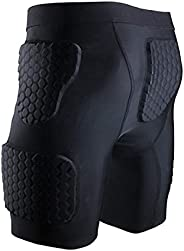 Men's Padded Shorts Skate Compression Short Basketball Hip Protective Underwear