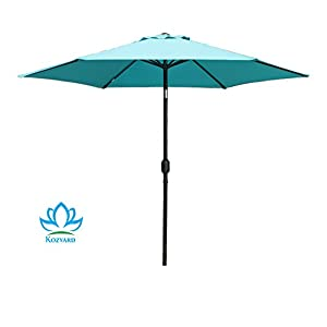 Kozyard 9 Feet Patio Outdoor Umbrella with Push Button to Tilt/Crank, 100% Polyester, Steel Rib and Sturdy Aluminum pole in Bronze Finish(BLUE)