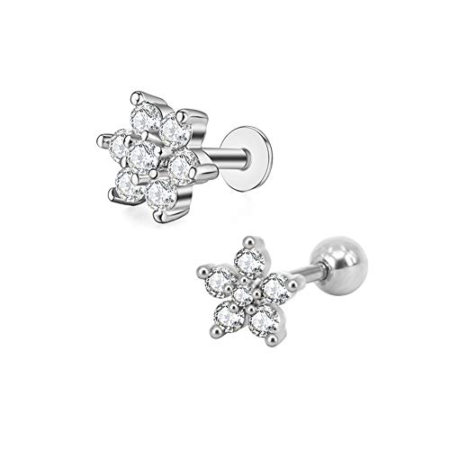 (2Pcs 16G-18G/6mm-7mm 316L Surgical Steel Labrets Stud Tiny CZ Flower Lip Studs Medusa Monroe Piercing Helix Cartilage Conch Tragus Lobes Stud Earrings for Women Girls)