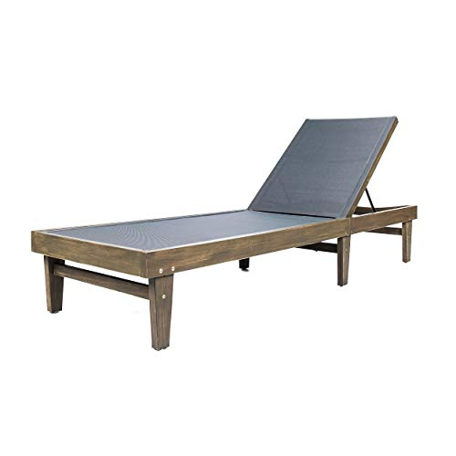 Great Deal Furniture Della Outdoor Dark Grey Mesh Chaise Lounge with Grey Finished Acacia Wood Frame