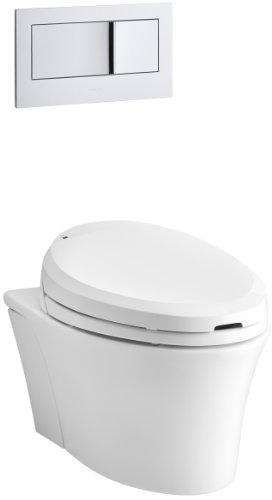 KOHLER K-6304-0 Veil Elongated Dual-Flush Wall-Hung Toilet with C3 Toilet Seat and Bidet Functionality, White, (Floor Mount Bidet Set)