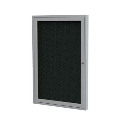 1 Door Enclosed Bulletin Board Surface Color: Black, Size: 3' H x 2' W, Frame Finish: Satin