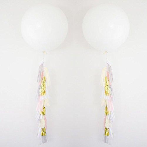 "MOWO 36"" White Giant Latex Balloon with Tassel (2 set, metallic gold, pink, white tassels)"