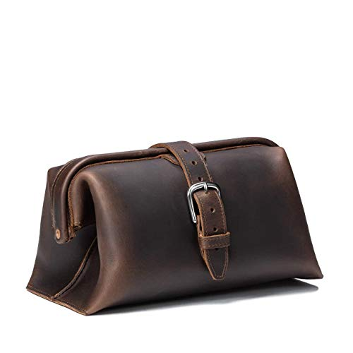 Saddleback Leather Co. Expandable Full Grain Leather Quality Toiletry Travel Bag Dopp Kit Shower Bathroom Accessory Includes 100 Year Warranty