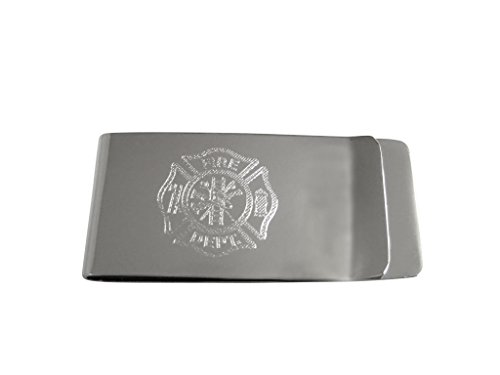 Silver Toned Etched Fire Fighter Emblem Money Clip