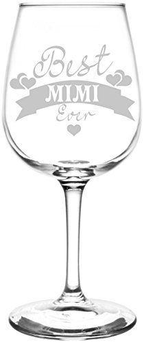 ((Mimi) Hearts & Banner Best Ever Celebration Inspired - Laser Engraved 12.75oz Libbey All-Purpose Wine Taster)