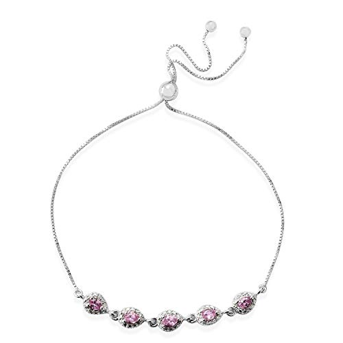 925 Sterling Silver Platinum Plated Pear Pink Sapphire Bolo Fashion Bracelet for Women Cttw 0.6