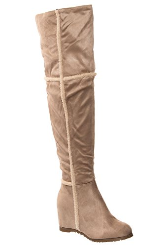 Womens Over the Knee Fleece Lined Faux Suede Faux Fur Trim Flat Heel Boots_CY115_Beige_3 (Fur High Suede Trim Heel)