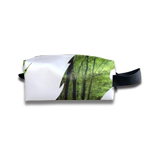 Green Forest Fox Clipart Portable Pencil Bag Coin Purse Pouch Stationery Storage Organizer Case Cosmetic Makeup Brush Holder with Durable Zipper for Students Office