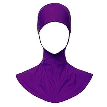 Weixinbuy Women's Muslim Under Scarf Cap Hijab Islamic Neck Cover Head Wear Cap Free Size Purple
