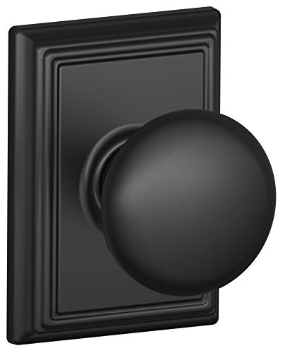 Schlage F10-PLY-ADD Plymouth Passage Knobset with Decorative Addison Rose from t, Matte Black