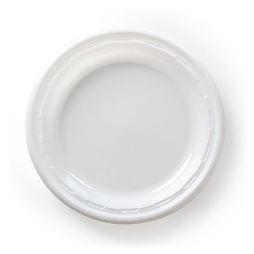 CPC 6PWF, 6-Inch Famous Service White Impact Plastic Plate, Take Out Catering Food Disposable Dinner Plates (100) ()