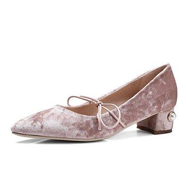 de las mujeres Oxford Primavera Verano Otoño Invierno Zapato con cierre de seda Fleece oficina y carrera vestido rosa Negro con cordones ocasional de tacón grueso Black