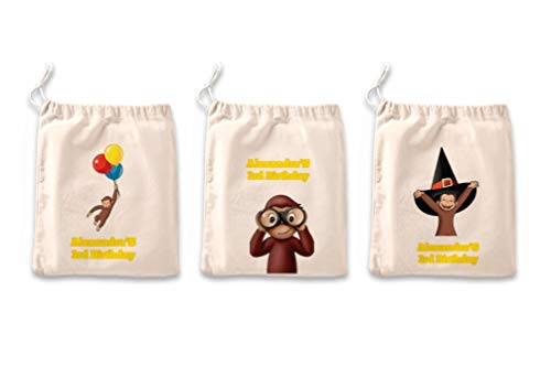IFB-Curious George Favor Bags Kids Birthday Party,Custom Personalized Goodie Bags Set of 3, Party favours for kids.]()