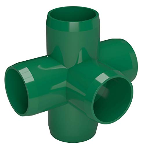 FORMUFIT F0015WC-GR-4 5-Way Cross PVC Fitting, Furniture Grade, 1'' Size, Green (Pack of 4) by FORMUFIT (Image #2)