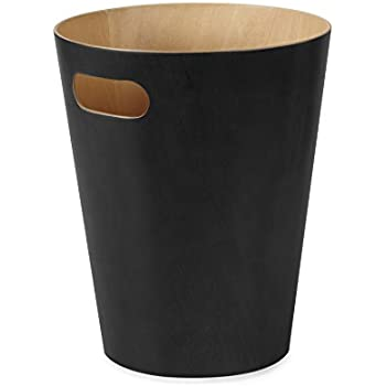 Umbra Woodrow Trash Can – Duo-Tone Wood Wastebasket Garbage Can for Office, Study, Bathroom, Living Room, Powder Room and More, 2 Gallon/7.5 L, Black