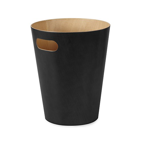Umbra Woodrow, 2 Gallon Modern Wooden Trash Can Wastebasket or Recycling Bin for Home or Office, Black