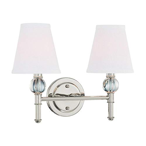 Langdon Mills 10206 Savoy 2-Light Bathroom Vanity Light, Polished Nickel