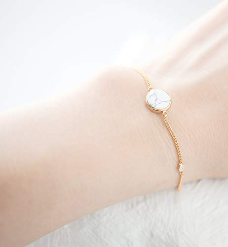 Dainty White Simulated Howlite Stone Delicate Gold Plated Chain Bracelet