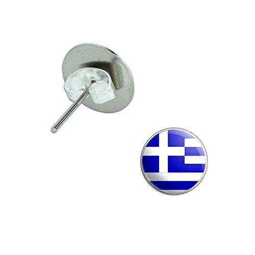 Greece Greek Flag Novelty Silver Plated Stud Earrings (Costume Greece)