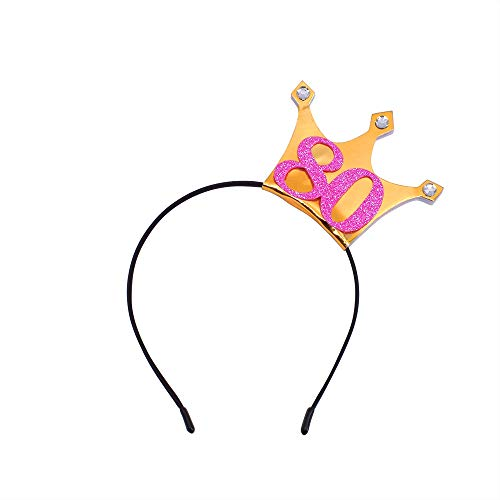 80th Birthday Headband - 80 Years Party Tiara 80th Birthday Gifts 80 Birthday Party Accessories(Gold/Glitter Pink)]()