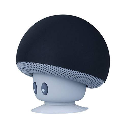 Cartoon small mushroom head speaker suction cup phone flat bracket small audio Portable Mini Speaker – Black