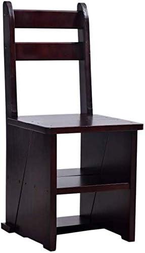 GOG Fácil y conveniente plegable taburete de paso, | Escalera plegable Estantería | Estante de almacenamiento | Silla de madera sólida plegable Escalera/Silla Escalera con 5 Pasos para el hogar, el: Amazon.es: