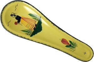 Quimper Soleil Yellow Spoon Rest Woman by HB Henriot Quimper