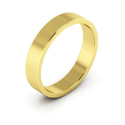 10K Yellow Gold men's and women's plain wedding bands 4mm light flat, (4 Mm Flat Light)