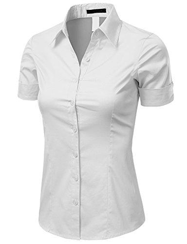Doublju Women Short Sleeve Basic Simple Spandex Shirt,White,XX-Large (Basic Womens Lycra Shirt)