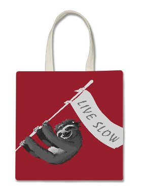 Sloth Pirate Live Slow Flag Banner Red Background Printed Tote Bag, 14.5x15
