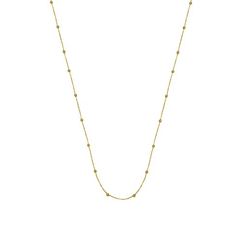Small Bead Necklace Station Style 14k Yellow Gold, 17
