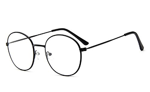 Caixia 9728 Lightweight Wire Frame Thin Rim Round Eyeglasses Small Size (full black, 52mm )