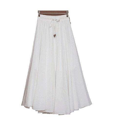 Oudan Style Bohme Ligne Maxi Blanc Femmes Jupe Longue Mesdames Swing Haute Jupe lgante Taille mi A qErwAq5R