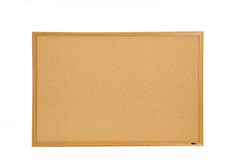 (INNOVART Bulletin Board, Cork Board, 48 x 36 Inches, Oak Wood Finish Frame Corkboard with Push Pins)