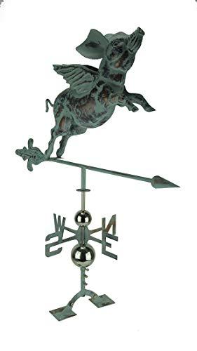 Things2Die4 Verdigris Patina Metal Flying Pig Weather Vane with Roof Mount
