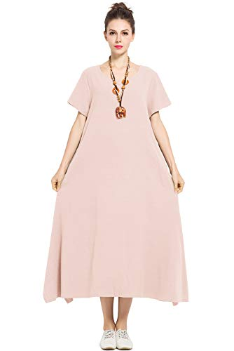 (Anysize Linen Cotton Soft Loose Spring Summer Dress Plus Size Clothing F126A,Skin Pink,4X Plus)