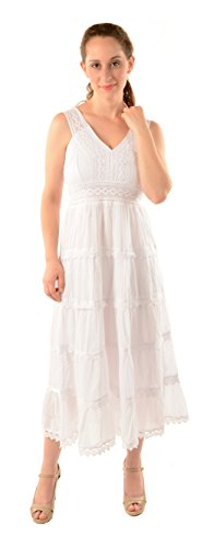 on Tiered Scalloped Eyelet Sleeveless Ankle Length Dress-2XL ()