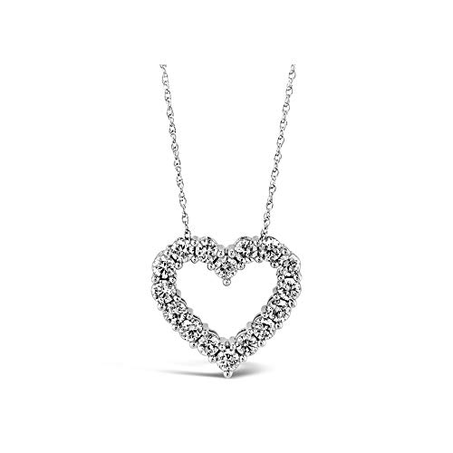 Brilliant Expressions 14K White Gold 1 Cttw Colorless Lab Created Conflict Free Diamond Open Heart Pendant Necklace (E-F Color, VS2-SI1 Clarity), Adjustable Chain 16-18 inch