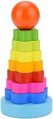 Creative Stack Tower Rompecabezas de madera para niños Rainbow Tower Jenga Anillos Kindergarten Juguete Naranja: Amazon.es: Amazon.es
