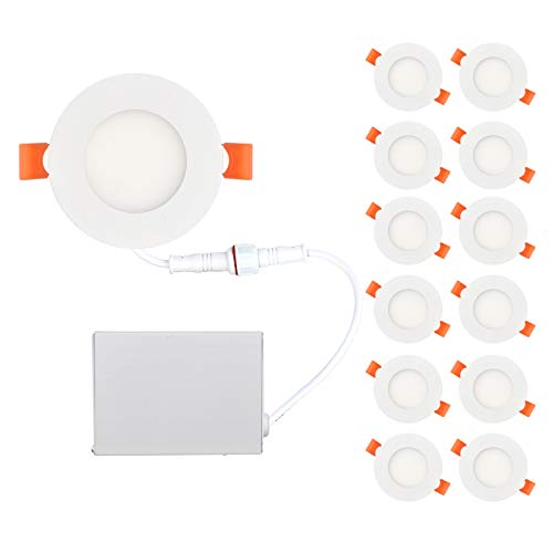 (OSTWIN 3 inch 6W (30 Watt Repl.) IC Rated LED Recessed Low Profile Slim Round Panel Light with Junction Box, Dimmable, 3000K Warm Light 420 Lm, 12 Pack No Can)