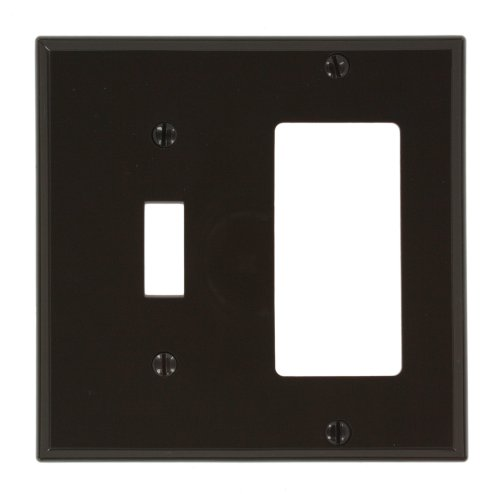 Decora Toggle 1 (Leviton 80707 2-Gang 1-Toggle 1-Decora/GFCI Device Combination Wallplate, Brown)