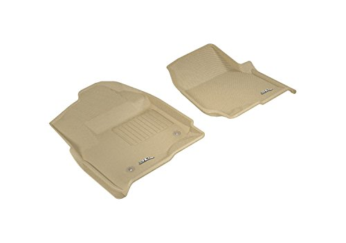 3D MAXpider Front Row Custom Fit All-Weather Floor Mat for Select Ford F-250/350/450 Models – Kagu Rubber (Tan)