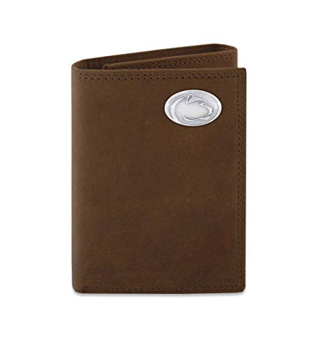NCAA Penn State Nittany Lions Zep-Pro Crazyhorse Leather Trifold Concho Wallet, Light Brown
