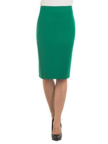 Velucci Womens High Waist Pencil Skirt - Knee High - Zipper - Back Slit, Green-M - Back Green