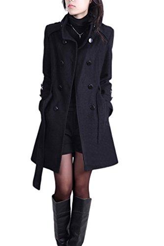 YOUJIA Femmes Revers Double Boutonnage Longue Veste Manteau Trench avec Ceinture Noir